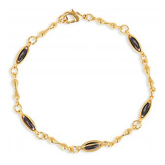 Gold-plated necklace with olive black enamel 45cm