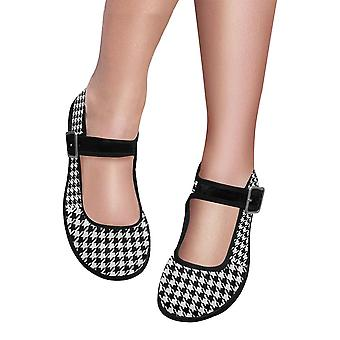 Mary jane shoes - black & white houndstooth flats