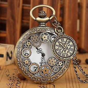 Vintage Antique Copper Steampunk Bronze Hollow Gear Quartz Pocket Watch
