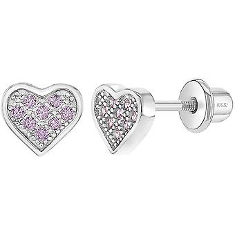 925 Sterling Silver Cute and Fashionable Cubic Zirconia Heart Screw Earrings