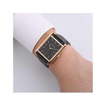Correa de cuero negro con esfera de patrón cuadrado, reloj de pulsera