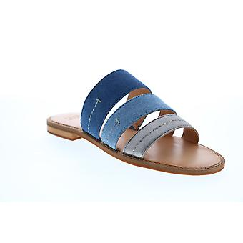 Frye & Co. Evie 3 Band Slide  Womens Blue Leather Slides Flats Shoes