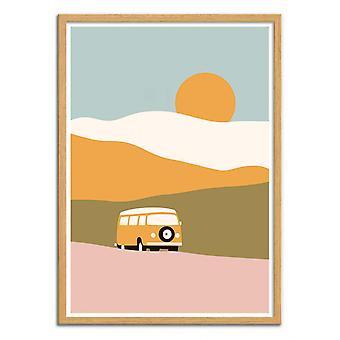 Art-Poster - Pakettiauto maisemassa - Florent Bodart
