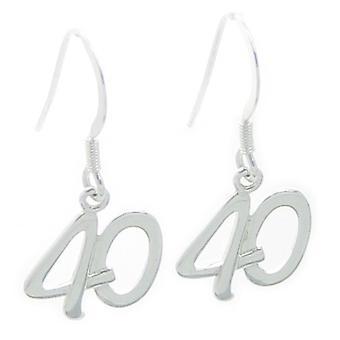40e verjaardag Sterling Silver Drop Oorbellen .925 X 1 Pair Drops