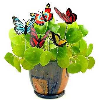 5pcs Colorful Stakes Butterfly Flower Pots Decoration With Pile