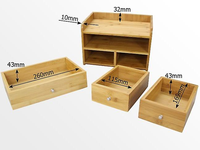Woodquail Bamboo Large Desk Organiser with 3 Drawers