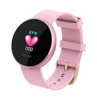 ساعة ذكية نسائية، مراقبة معدل ضربات القلب مع شاشة ملونة، IP68 شاشة المنبه التلقائي للماء الذكية ساعة الهاتف المحمول للرجال والنساء (الوردي)