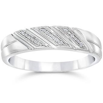 1/5ct Mens Diamond Ring 10K White Gold