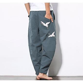 Cotton&linen Loose Embroidery Tang Suit Pants, Trousers Martial Arts