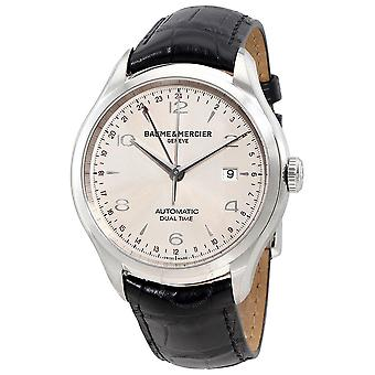 Baume and Mercier Clifton Dual Time Silver Dial Men's Watch 10112