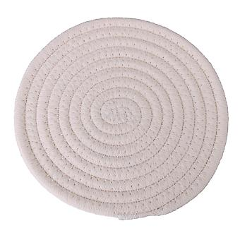 3xWoven Cotton Thread Insulation Hot Pad Heat Resistant 18cm Round Beige