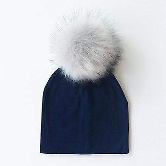 Autumn Winter Artificial Pompom Cotton Baby Hat Kids Caps With Newborn Photo
