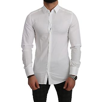 Dolce & Gabbana White GOLD Cotton Solid Dress Formal Shirt - TSH5029