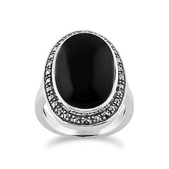Onyx mousserande Markasit Ring i 925 Sterling Silver