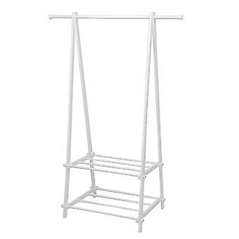 Clothes rack with 2 shoe shelves - White - 107x43,5x150 cm