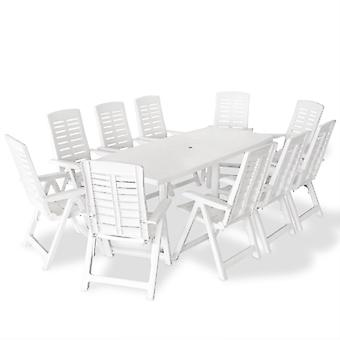 vidaXL 11-tlg. Groupe de jardin en plastique blanc