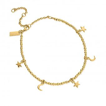 ChloBo Gold Mini Cute Moon & Stars Anklet GANMC8101102