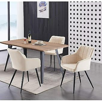 Lusso & Carmello Dining Set | Modern Dining Table | Velvet Dining Chair | Modern Set |  (oak & Cream)