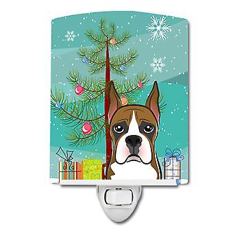 Caroline's Atesora árbol de Navidad y boxer cerámica luz nocturna, 6x4, multicolor