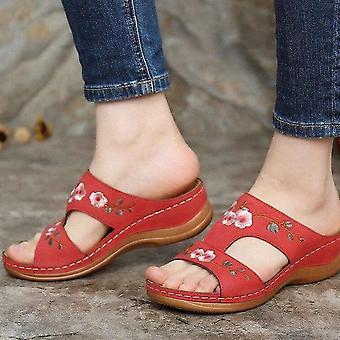 Women Open Toe Comfy Super Soft Orthopedic Walking Sandals - Red