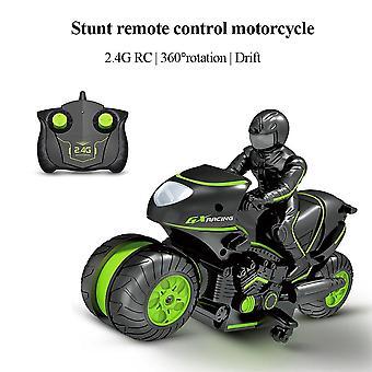 Motocicleta Radio control remoto coches de juguete a la deriva moto modelo Kit Truco para niños (verde)