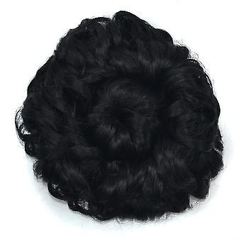 Wide Curly Hair Bun Women Curly Chignon Wig