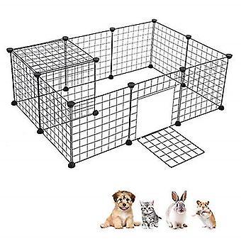 DIY بيت الحيوانات الأليفة قابلة للطي الحيوانات الأليفة Playpen الحديد سياج جرو بيت الكلب ممارسة التدريب جرو هريرة الفضاء