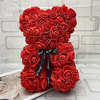Regalo de San Valentín 25cm Rosa Roja Oso de Peluche Flor de Rosa Decoración Artificial Regalos de Navidad Mujeres