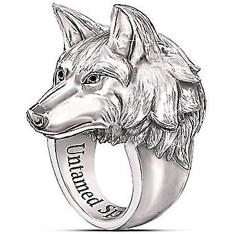 Men's Ring Norse Viking Nordic Wolf Head Rings For Men Wolf Ring Stands(10)