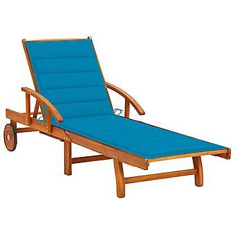 vidaXL sunbed with pad acacia solid wood