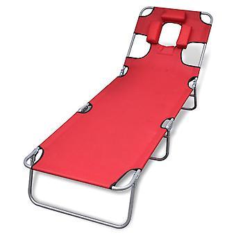 vidaXL taittopöytä tyynyjauheella pinnoitettu teräs punainen