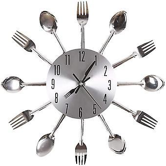 Einzigartige Aluminium Löffel Gabel Besteck Uhr Küche Wanduhr (Silber)