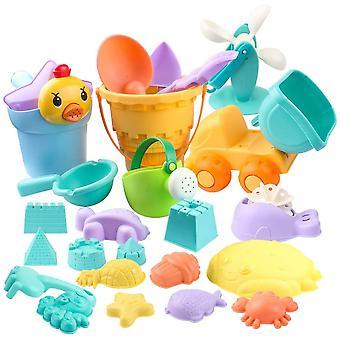 26 Stück Sandspielzeug Set Sandkasten Spielzeug Strandspielzeug in Netzbeutel Strand Sand und Wasser