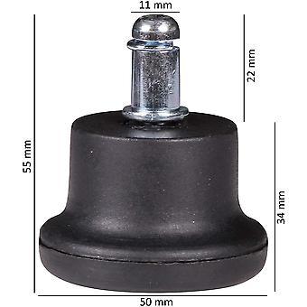 5er Set Design Kunststoff Bodengleiter/Fußgleiter für Bürostuhl rund 11 mm schwarz