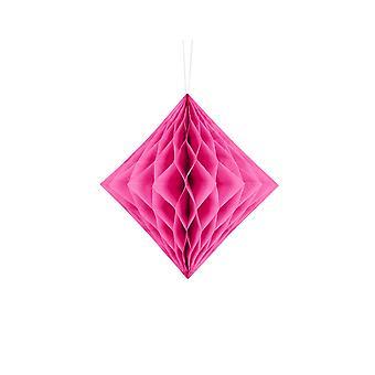 LAST FEW - 20cm Dark Pink Diamond Honeycomb Paper Party Decorations