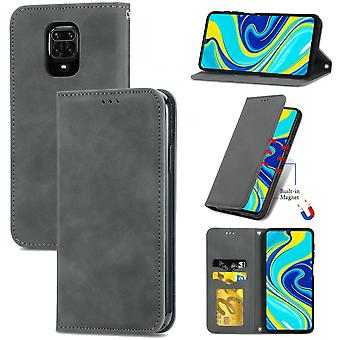Case For Xiaomi Redmi Note 9 Pro/note 9s/note 9 Pro Max Magnetic Closure Leather Wallet Cover Housse Etui Shockproof - Grey