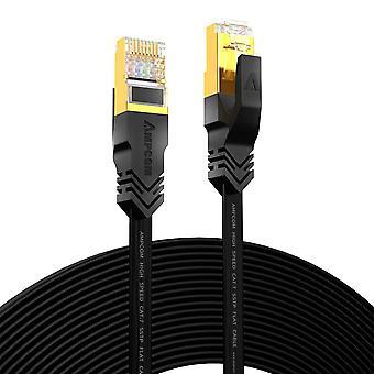 Ethernet-kaapeli (10g 600mhz), suojattu litteä rj45-verkkolaastarijohto, 50u kullattu lyijy, polyesteri punottu