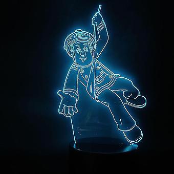 Tegneserie brandmand Sam 3d lille nat lampe farverige natlys