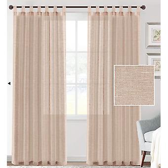 2X linen blended sheer curtains textured woven linen sheers curtain drapes for living room/bedroom light filtering tab top casual draperies -  natural