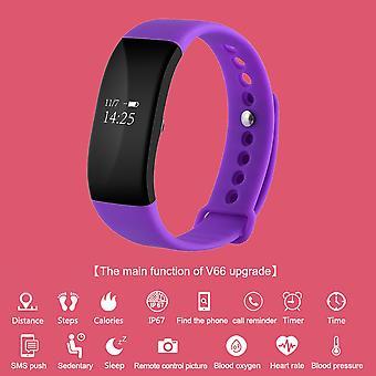 V66 Bluetooth Waterproof Heart Rate Smart Bracelet Watch Message Call Reminder