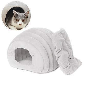Efterår og vinter kattegrus Pet Kuld Grå Varm Kattekuld Semi-lukket Pet Kuld
