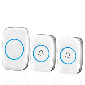 300m Waterproof Wireless Doorbell With 38 Melodies, 3 Volume Levels Led Flashing Classroom Doorbell  1 Host + 2 Button  White