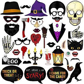 35 Kpl Halloween Party Photo Booth Rekvisiitta Hauska Syntymäpäivä Selfie Rekvisiitta