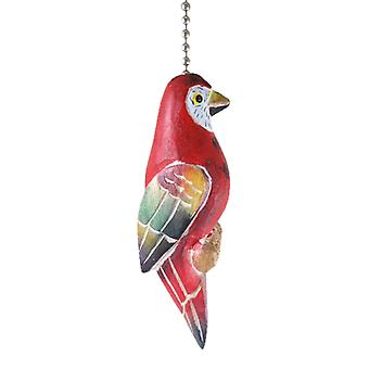 Red Parrot Painted Wooden Hand Carved Ceiling Fan Pull