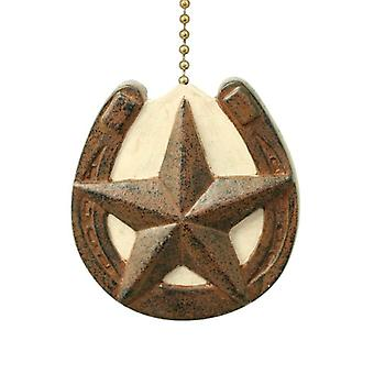 Horseshoe with Barn Star Primitive Design Ceiling Fan Pull or Light Pull Chain