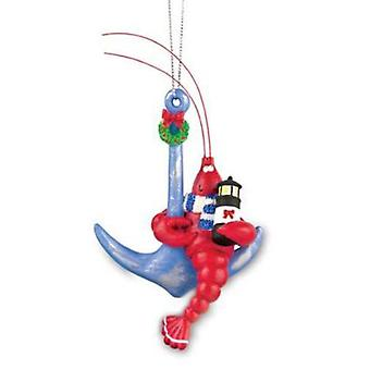 Cape Shore Coastal Red Lobster on Anchor Christmas Holiday Ornament Resin