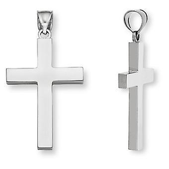 Pendentif Croix de la plaine 14K or blanc femme