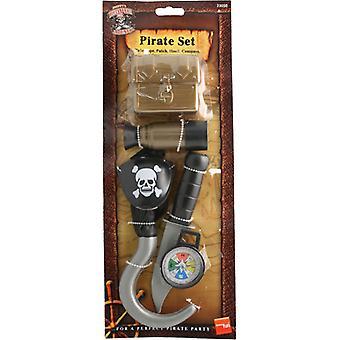 Pirátská sada s kompasem škrabka s nožem, dalekohled a hrudník