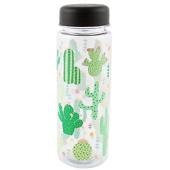 Sass & Belle Colourful Cactus Clear Water Bottle