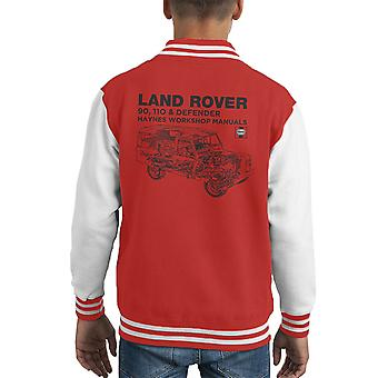 Haynes ägare Workshop Manual Land Rover Defender svart Kid's Varsity Jacket